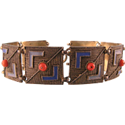 Extraordinary Theodor Fahrner Wide Bracelet with Enamel and Coral, 935 Sterling Silver Germany