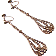 Art Deco Big, Long Marcasite Earrings, 925 Sterling Silver