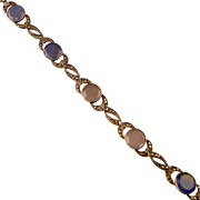 Art Deco Blue Chalcedony Bracelet with Marcasites, Sterling, Germany