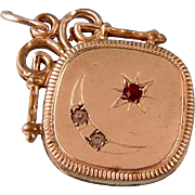 Antique Victorian Pendant or Charm with Paste Moon and Star, Gold Filled