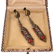 Art Deco Superb German Earrings with Carnelian, Rose Paste and Marcasites, 2-1/2""