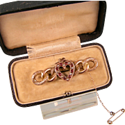 Antique Victorian Heart Brooch with Garnets and Seed Pearls, 9ct Rosy Gold, Dated 1899-1900, Original Box