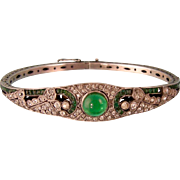 Art Deco Paste Bracelet with Faux Emeralds and Diamonds, Germany Sterling, Fantastic!
