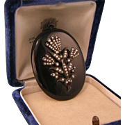Antique Victorian Onyx Locket with Seed Pearl Ornamentation, Sterling Silver, Grand Size
