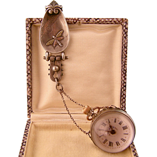 Antique Sterling Silver Chatelaine with Dragonfly Waist Plaque and Orb Watch on Chain, Phenomenal!
