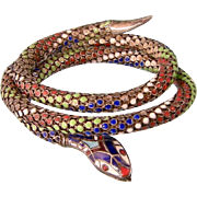 Art Deco Triple Coiled, Enameled Snake Bracelet, 935 Silver and DRGM Germany
