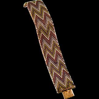 Art Deco Snake Scales Enameled Bracelet, Multicolored, DRGM Germany, Large Size