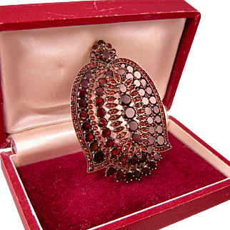 Antique Victorian Ornate Garnet Locket Pendant, Flat-Cut Garnets, Splendid