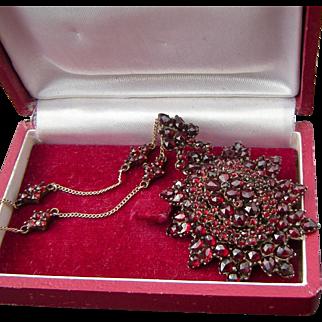 Gorgeous Antique Victorian Garnet Brooch Pendant on Vintage 14k Garnet Chain