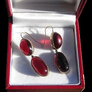 "Antique Victorian Double Garnet Drop Earrings, 9ct Gold, Large Stones, 1-3/4"""