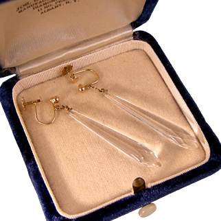 Art Deco Rock Crystal Earrings on Chains, 9ct Gold