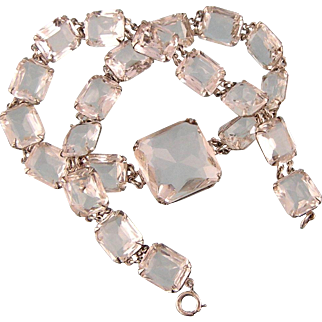 Art Deco Brilliant Faceted Glass Necklace in Sterling Silver
