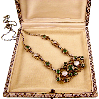Antique Austro Hungarian Necklace with Faux Emeralds and Pearls