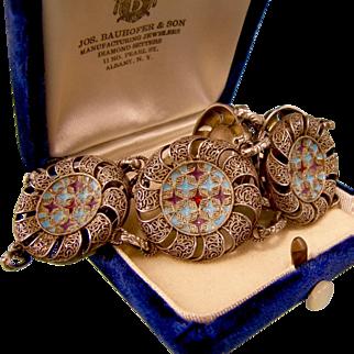 Theodor Fahrner Enamel and Filigree Bracelet, 1940s, Book Piece