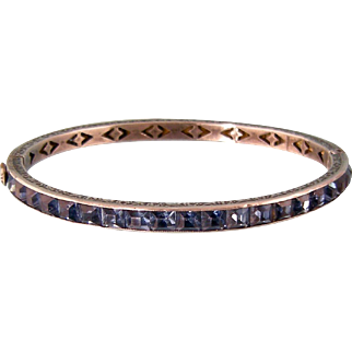 Art Deco Faux Sapphire Bangle Bracelet in Sterling Silver