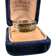 Art Deco Emerald and Diamond Paste Triple-Stack Ring