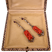 Edwardian Carved Coral, Amethyst, Hematite and Marcasite Earrings, Sterling Silver, Divine!