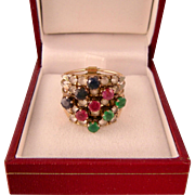 Vintage Harem Ring, 14K Gold and Colorful Gemstones