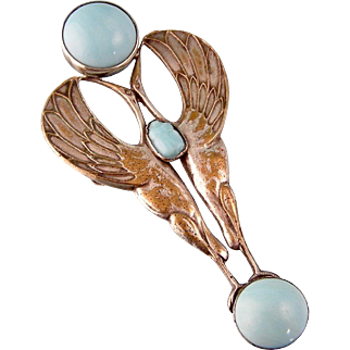 Egyptian Revival Pendant with Turquoise Glass, Herons, and a Scarab Beetle, 4-1/4""