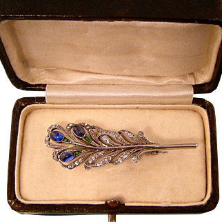 Superb Antique Peacock Feather Brooch, Knoll and Pregizer, Original Box