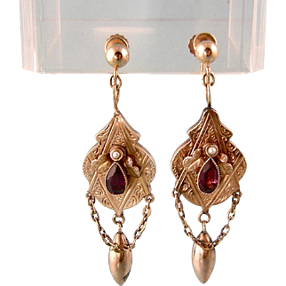 Antique Victorian Engraved Earrings in 14k Rosy Gold with Garnets, Seed Pearls, Chains, and Dangles