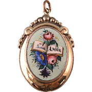 """Antique Enameled Locket, Spanish """"Amor""""  with Book and Flowers"""