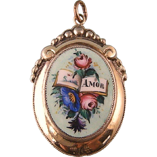 "Antique Enameled Locket, Spanish ""Amor""  with Book and Flowers"