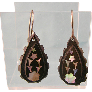 Antique Victorian Carved Pique Earrings with Iridescent Stars and Flower Shapes