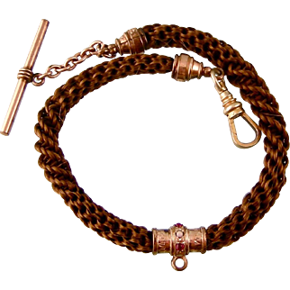 Antique Victorian Braided Hair Watch Fob Chain with Jeweled Bail, RGF