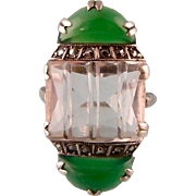 Art Deco Pinky Ring with Rock Crystal, Chrysoprase and Marcasites, Extraordinary Design, Size 3.75