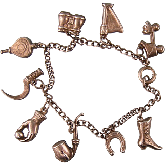 Antique Victorian Charm Bracelet in Sterling Silver