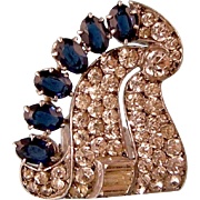 Art Deco Dress Clip, Knoll and Pregizer, Faux Sapphires and Diamonds, 935 Silver