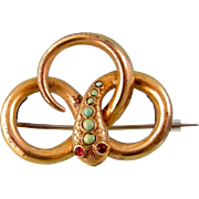 Antique Snake Brooch with Turquoises and Garnets