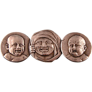 Antique Victorian Brooch, Three Faces, Howard Sterling Company, Outstanding Imagery