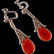 Art Deco Carnelian Teardrop and Marcasite Earrings in 935 Silver