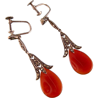 Art Deco Carnelian Teardrop and Marcasite Earrings in 935 Silver