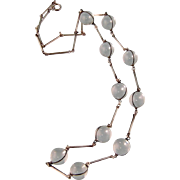 """Art Deco Rock Crystal Necklace, Pools of Light, Sterling, Long 27-1/2"""""""
