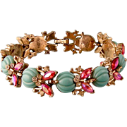 Trifari Glass and Rhinestone Bracelet, Stylized Insects and Melons, Fantastic Colors