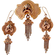 Antique Victorian Earrings and Brooch Set with Tassels and Enameling in 14k Rosy Gold, c1870