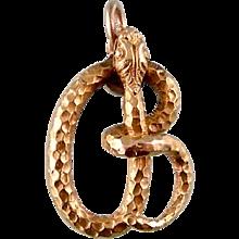 Snake Pendant or Charm, 14K Gold, Stick Pin Conversion