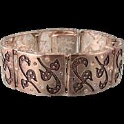 Wide Sterling Silver Bracelet, Germany, Ornate Design