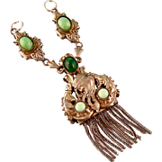 Elaborate Czech Art Nouveau Necklace Fragment, Glass Stones and Tassels