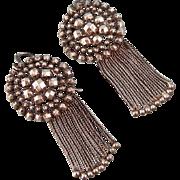 "Antique Victorian Cut Steel and Tassel  Earrings, 2-1/8"""