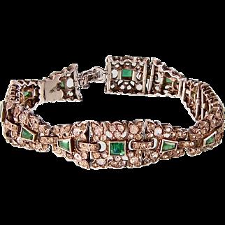 Art Deco Emerald and Diamond Paste Bracelet, Sterling Silver