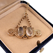 Antique Victorian Double Moonstone Pendant, 9ct Gold