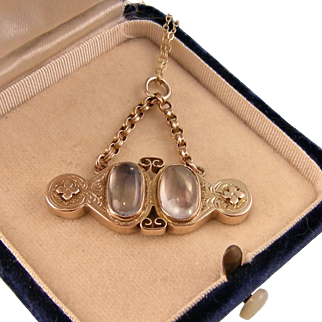 Antique Victorian Double Moonstone Pendant, 9ct Gold