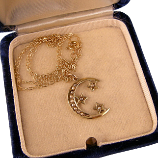 Moon and Stars Pendant, 14K Gold and Seed Pearls