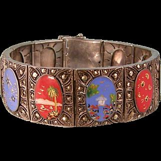 Extraordinary Art Deco Ornately Enameled Bracelet with Marcasites, Asian-Oriental Motif