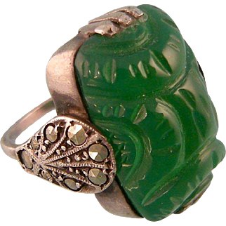 Art Deco Carved Chrysoprase Pinky Ring, Faux Jade, with Fancy Marcasite Shoulders