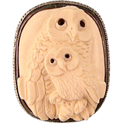 Two Owls Brooch or Pendant, Carved Celluloid and Sterling Silver